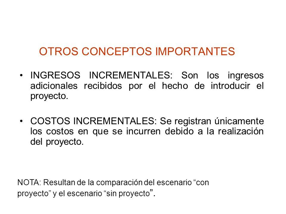 OTROS CONCEPTOS IMPORTANTES INGRESOS INCREMENTALES: Son los ingresos adicionales recibidos por el hecho de introducir el proyecto. COSTOS INCREMENTALE