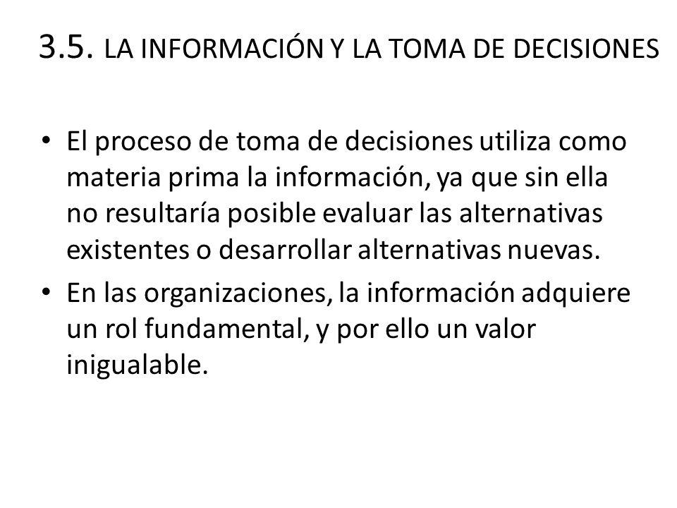 3.5. LA INFORMACIÓN Y LA TOMA DE DECISIONES El proceso de toma de decisiones utiliza como materia prima la información, ya que sin ella no resultaría