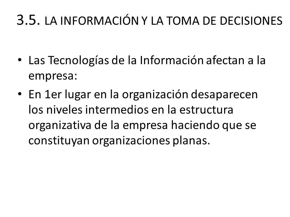 3.5. LA INFORMACIÓN Y LA TOMA DE DECISIONES Las Tecnologías de la Información afectan a la empresa: En 1er lugar en la organización desaparecen los ni