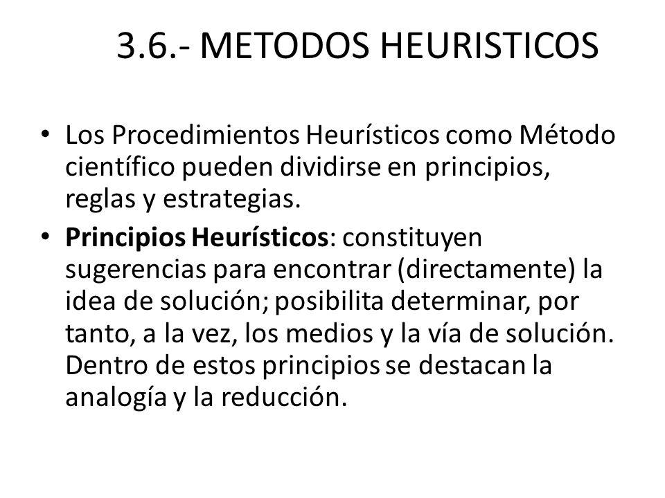 3.6.- METODOS HEURISTICOS Los Procedimientos Heurísticos como Método científico pueden dividirse en principios, reglas y estrategias. Principios Heurí
