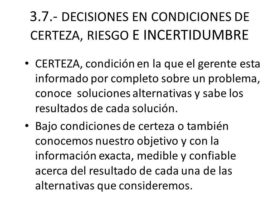 3.7.- DECISIONES EN CONDICIONES DE CERTEZA, RIESGO E INCERTIDUMBRE CERTEZA, condición en la que el gerente esta informado por completo sobre un proble