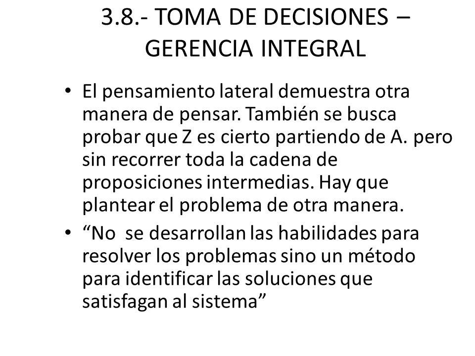 3.8.- TOMA DE DECISIONES – GERENCIA INTEGRAL El pensamiento lateral demuestra otra manera de pensar. También se busca probar que Z es cierto partiendo