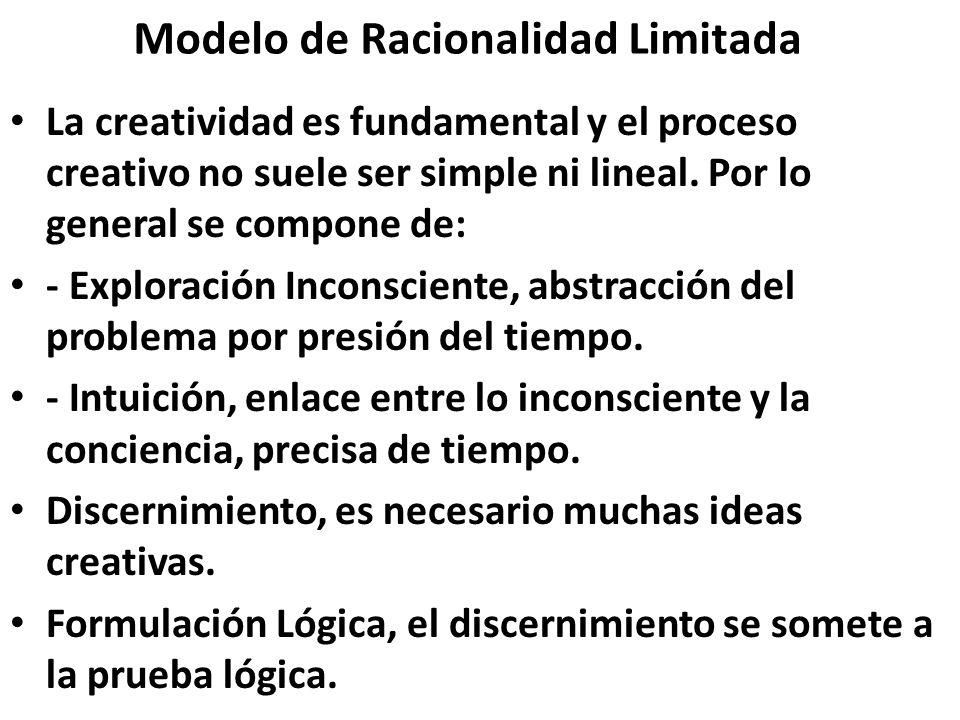 Modelo de Racionalidad Limitada La creatividad es fundamental y el proceso creativo no suele ser simple ni lineal. Por lo general se compone de: - Exp
