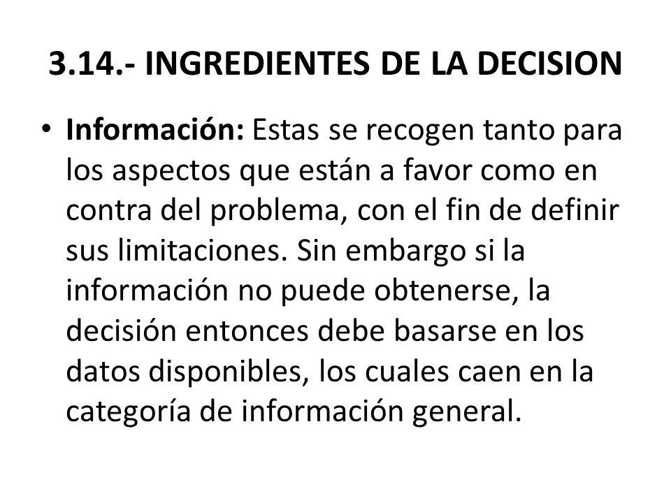 3.14.- INGREDIENTES DE LA DECISION Información: Estas se recogen tanto para los aspectos que están a favor como en contra del problema, con el fin de