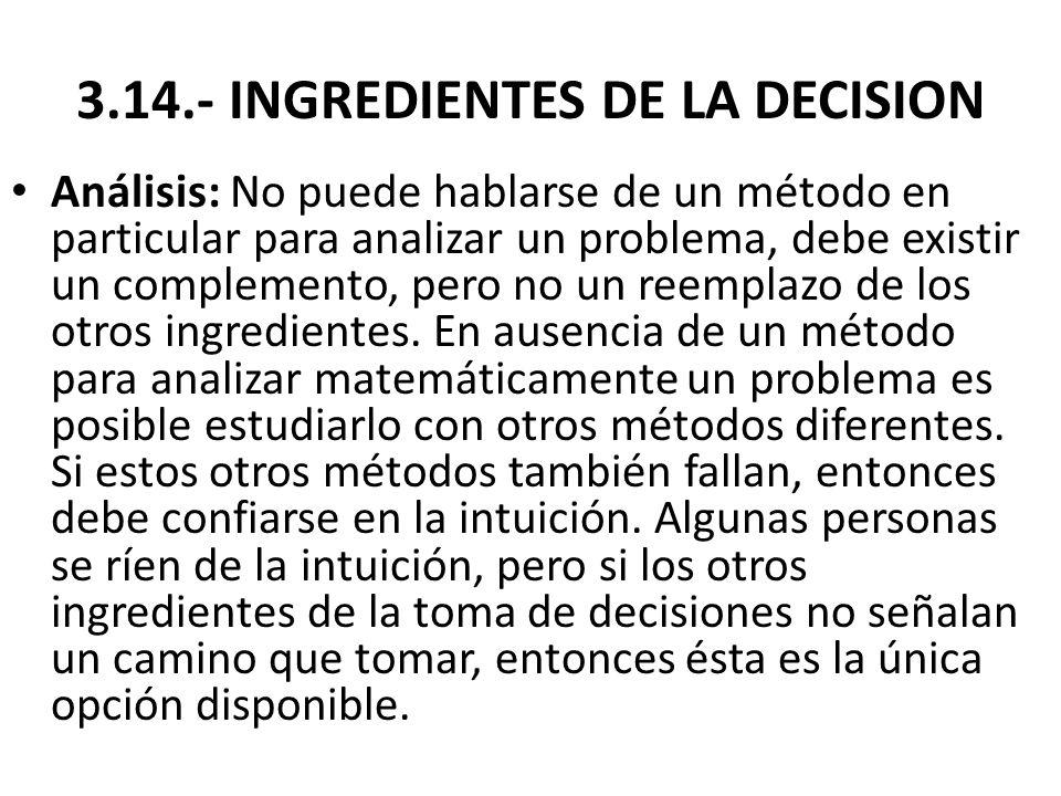 3.14.- INGREDIENTES DE LA DECISION Análisis: No puede hablarse de un método en particular para analizar un problema, debe existir un complemento, pero