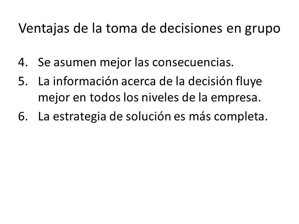 Ventajas de la toma de decisiones en grupo 4.Se asumen mejor las consecuencias. 5.La información acerca de la decisión fluye mejor en todos los nivele