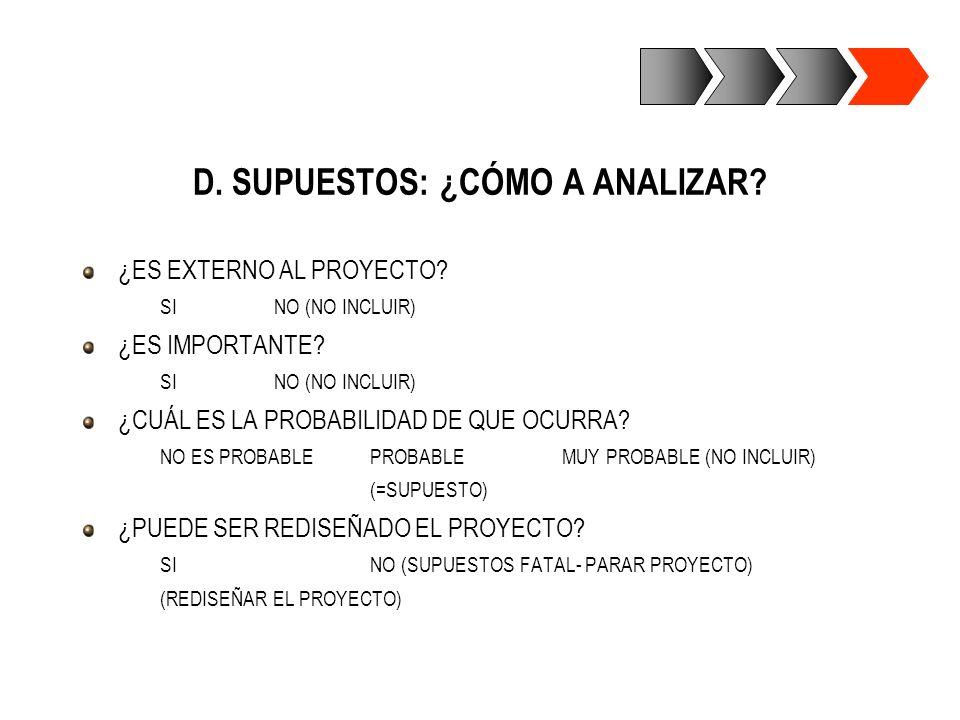 D. SUPUESTOS: ¿CÓMO A ANALIZAR? ¿ES EXTERNO AL PROYECTO? SINO (NO INCLUIR) ¿ES IMPORTANTE? SINO (NO INCLUIR) ¿CUÁL ES LA PROBABILIDAD DE QUE OCURRA? N