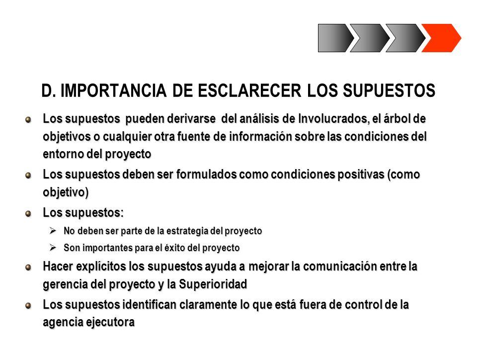 D. IMPORTANCIA DE ESCLARECER LOS SUPUESTOS Los supuestos pueden derivarse del análisis de Involucrados, el árbol de objetivos o cualquier otra fuente