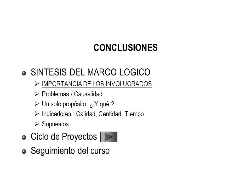 CONCLUSIONES SINTESIS DEL MARCO LOGICO IMPORTANCIA DE LOS INVOLUCRADOS Problemas / Causalidad Un solo propósito: ¿ Y qué ? Indicadores : Calidad, Cant