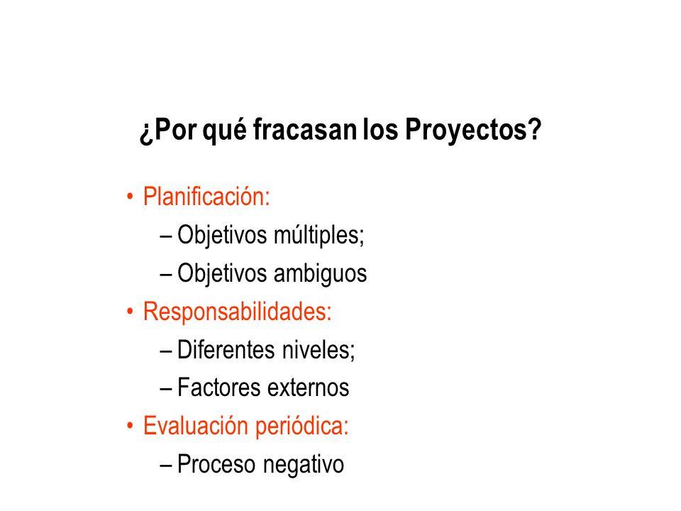 ¿Por qué fracasan los Proyectos? Planificación: –Objetivos múltiples; –Objetivos ambiguos Responsabilidades: –Diferentes niveles; –Factores externos E