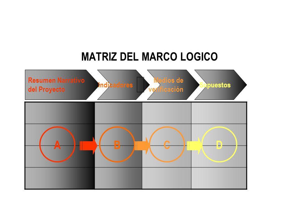 Resumen Narrativo del Proyecto Indicadores Medios de verificación Supuestos MATRIZ DEL MARCO LOGICO ABCD