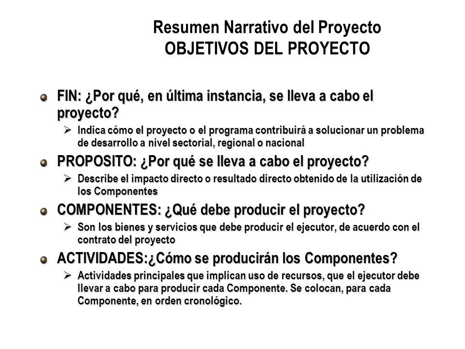 Resumen Narrativo del Proyecto OBJETIVOS DEL PROYECTO FIN: ¿Por qué, en última instancia, se lleva a cabo el proyecto? Indica cómo el proyecto o el pr