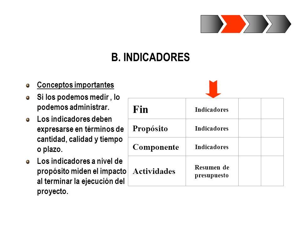 B. INDICADORES Conceptos importantes Si los podemos medir, lo podemos administrar. Los indicadores deben expresarse en términos de cantidad, calidad y
