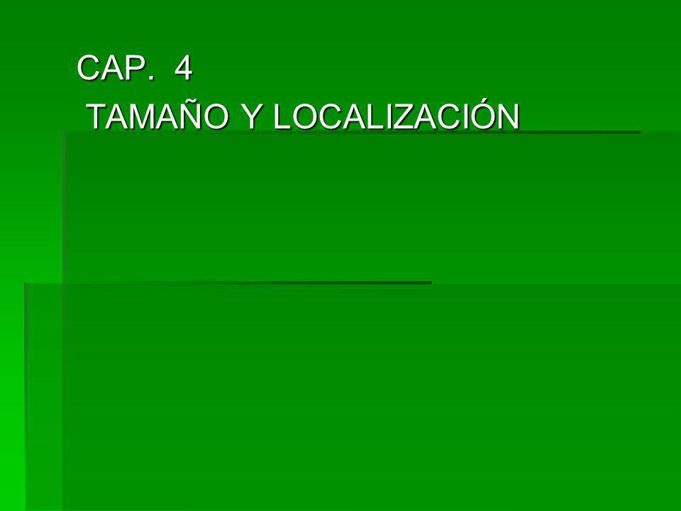 CAP. 4 TAMAÑO Y LOCALIZACIÓN TAMAÑO Y LOCALIZACIÓN