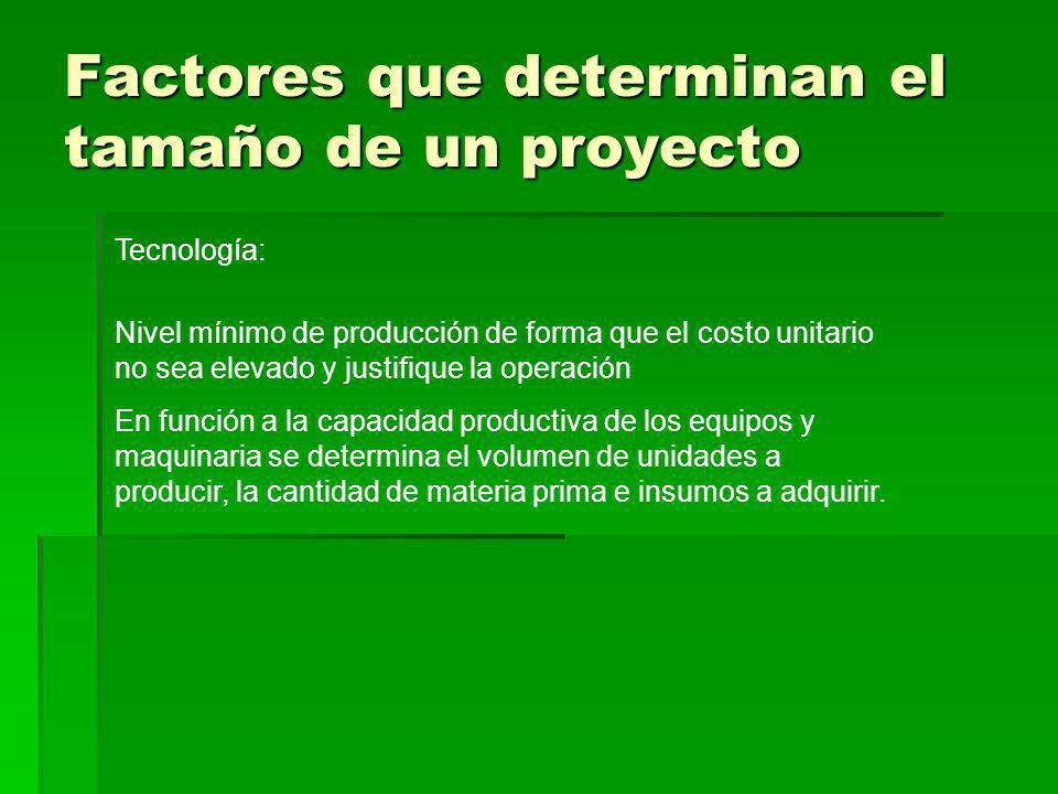 Factores que determinan el tamaño de un proyecto Tecnología: Nivel mínimo de producción de forma que el costo unitario no sea elevado y justifique la