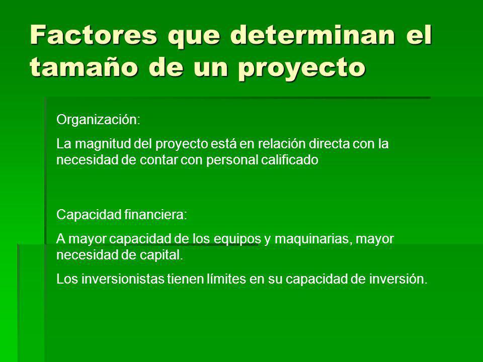 Factores que determinan el tamaño de un proyecto Capacidad financiera: A mayor capacidad de los equipos y maquinarias, mayor necesidad de capital. Los