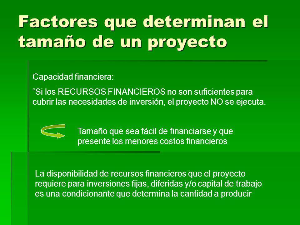 Factores que determinan el tamaño de un proyecto Capacidad financiera: Si los RECURSOS FINANCIEROS no son suficientes para cubrir las necesidades de i