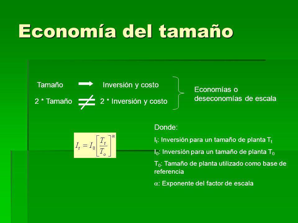 Economía del tamaño 2 * Tamaño Tamaño 2 * Inversión y costo Inversión y costo Economías o deseconomías de escala Donde: I t : Inversión para un tamaño