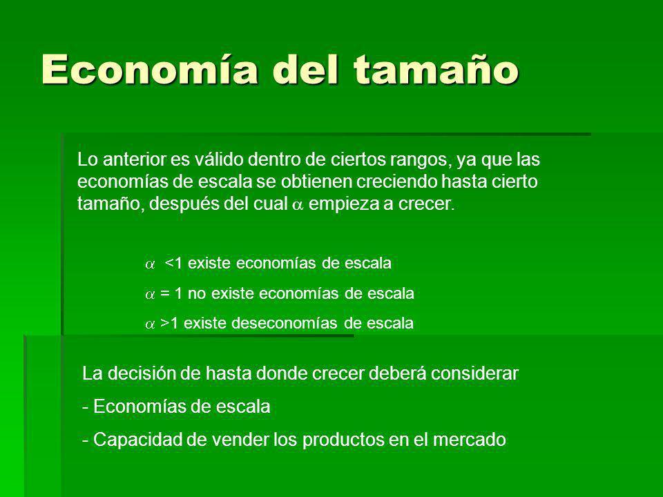 Economía del tamaño <1 existe economías de escala = 1 no existe economías de escala >1 existe deseconomías de escala Lo anterior es válido dentro de c