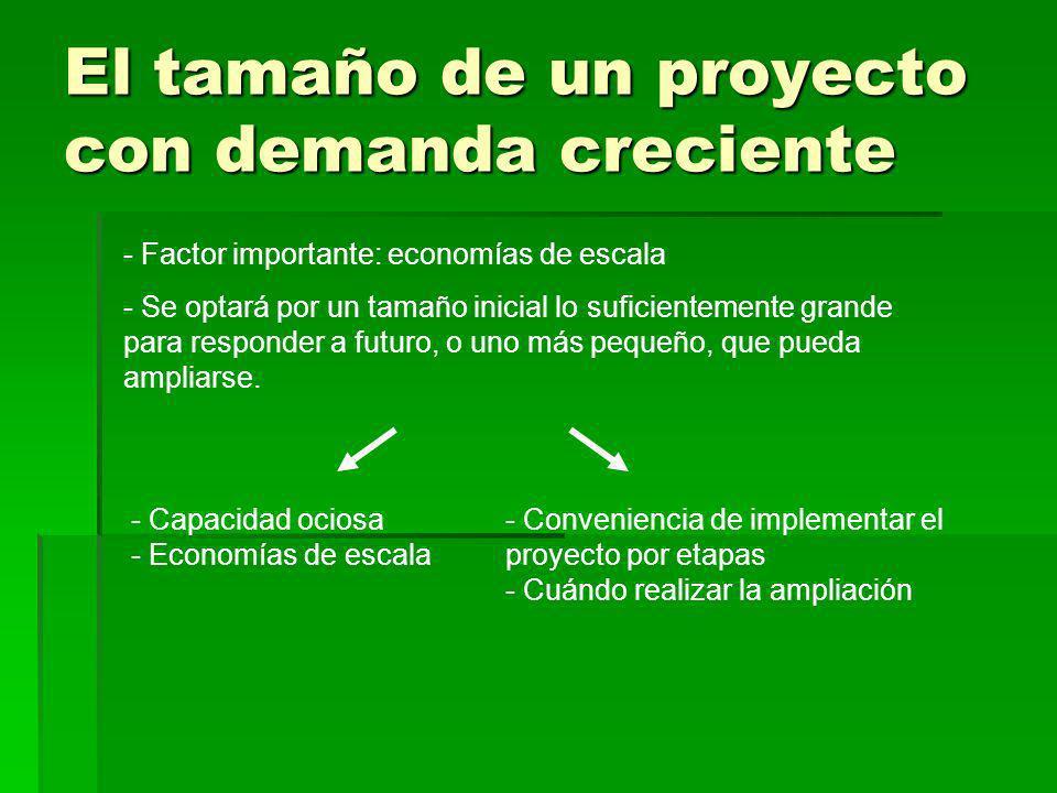 El tamaño de un proyecto con demanda creciente - Factor importante: economías de escala - Se optará por un tamaño inicial lo suficientemente grande pa