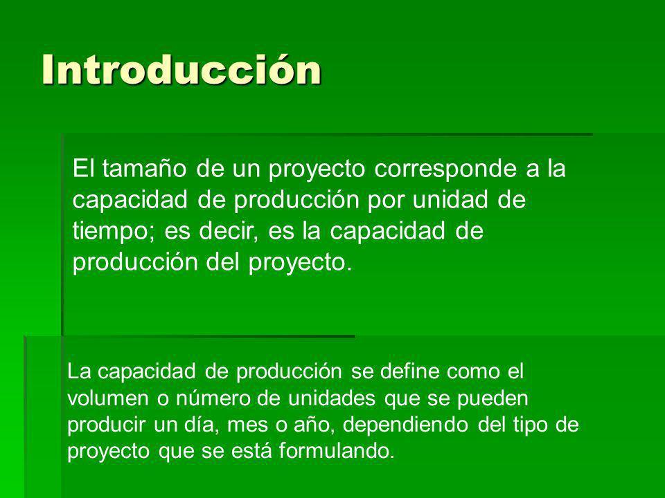Introducción El tamaño de un proyecto corresponde a la capacidad de producción por unidad de tiempo; es decir, es la capacidad de producción del proye