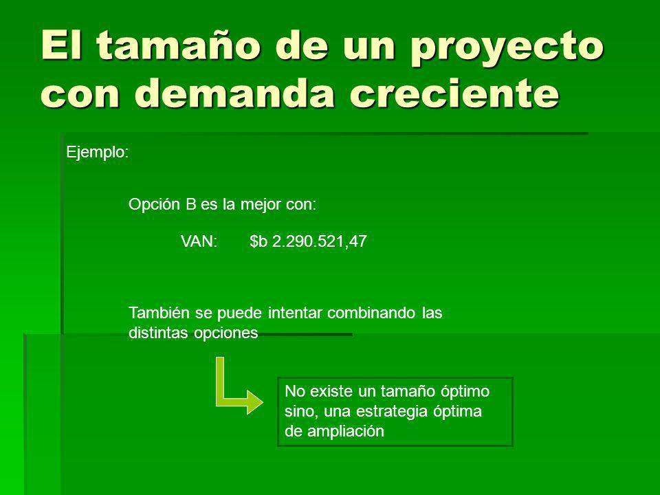 El tamaño de un proyecto con demanda creciente Ejemplo: Opción B es la mejor con: VAN:$b 2.290.521,47 No existe un tamaño óptimo sino, una estrategia