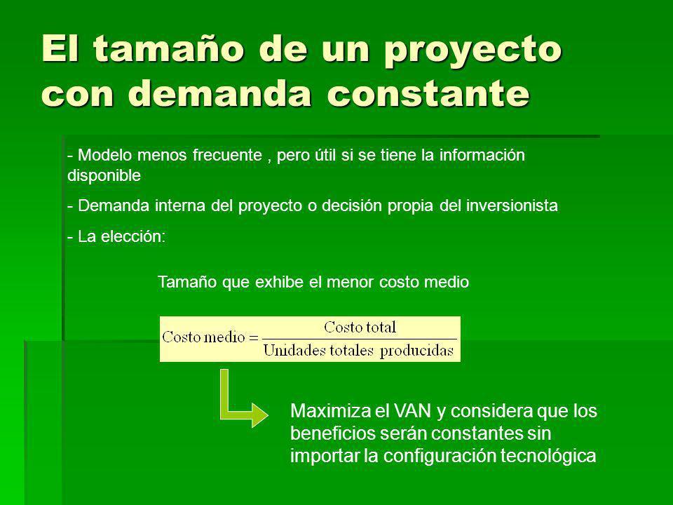 El tamaño de un proyecto con demanda constante - Modelo menos frecuente, pero útil si se tiene la información disponible - Demanda interna del proyect
