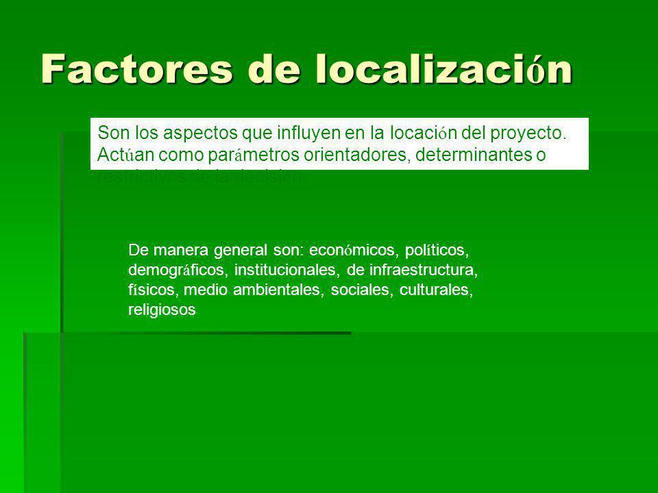 Factores de localizaci ó n Son los aspectos que influyen en la locaci ó n del proyecto. Act ú an como par á metros orientadores, determinantes o restr