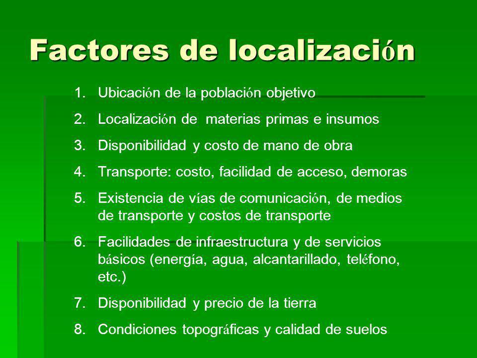 Factores de localizaci ó n 1.Ubicaci ó n de la poblaci ó n objetivo 2.Localizaci ó n de materias primas e insumos 3.Disponibilidad y costo de mano de