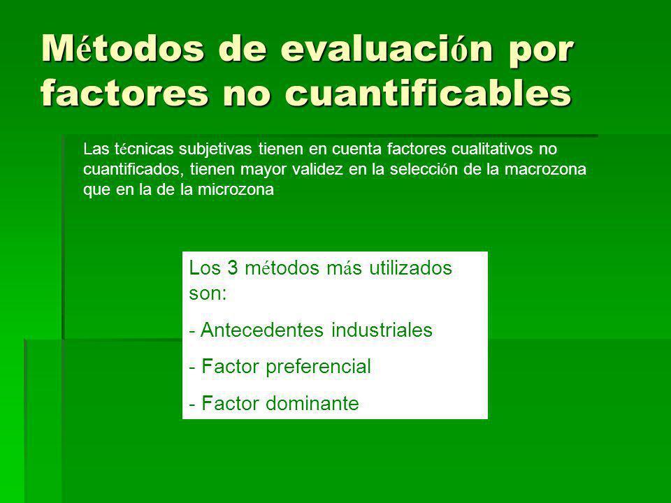 M é todos de evaluaci ó n por factores no cuantificables Las t é cnicas subjetivas tienen en cuenta factores cualitativos no cuantificados, tienen may