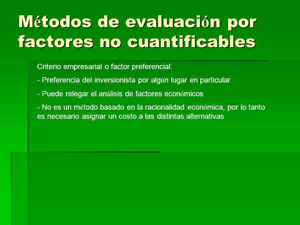 M é todos de evaluaci ó n por factores no cuantificables Criterio empresarial o factor preferencial: - Preferencia del inversionista por alg ú n lugar