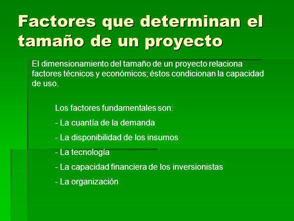 Factores que determinan el tamaño de un proyecto El dimensionamiento del tamaño de un proyecto relaciona factores técnicos y económicos; éstos condici