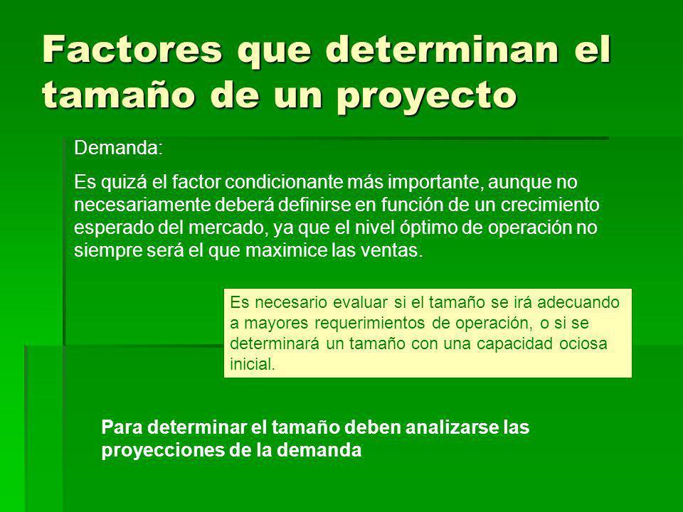 Factores que determinan el tamaño de un proyecto Demanda: Es quizá el factor condicionante más importante, aunque no necesariamente deberá definirse e
