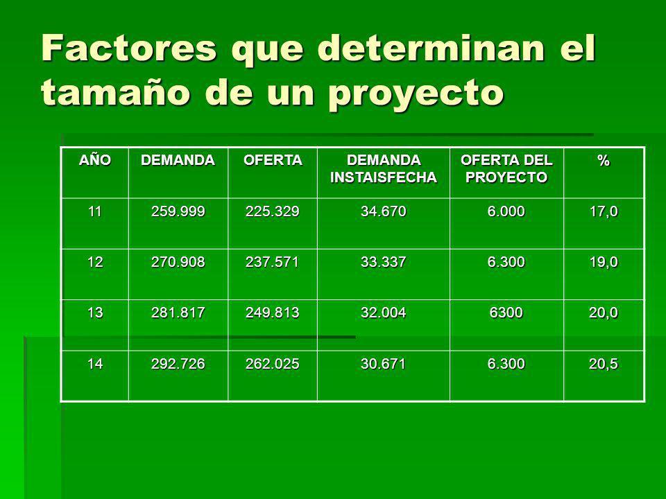 Factores que determinan el tamaño de un proyecto AÑODEMANDAOFERTA DEMANDA INSTAISFECHA OFERTA DEL PROYECTO % 11259.999225.32934.6706.00017,0 12270.908
