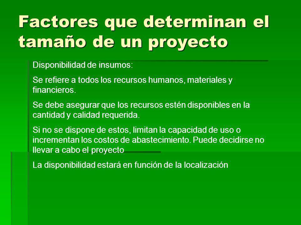 Factores que determinan el tamaño de un proyecto Disponibilidad de insumos: Se refiere a todos los recursos humanos, materiales y financieros. Se debe