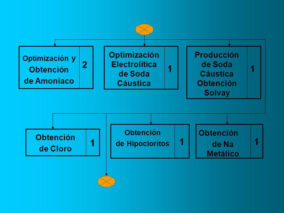 2 Optimización y Obtención de Amoniaco 1 Optimización Electrolítica de Soda Cáustica 1 Producción de Soda Cáustica Obtención Solvay 1 Obtención de Clo