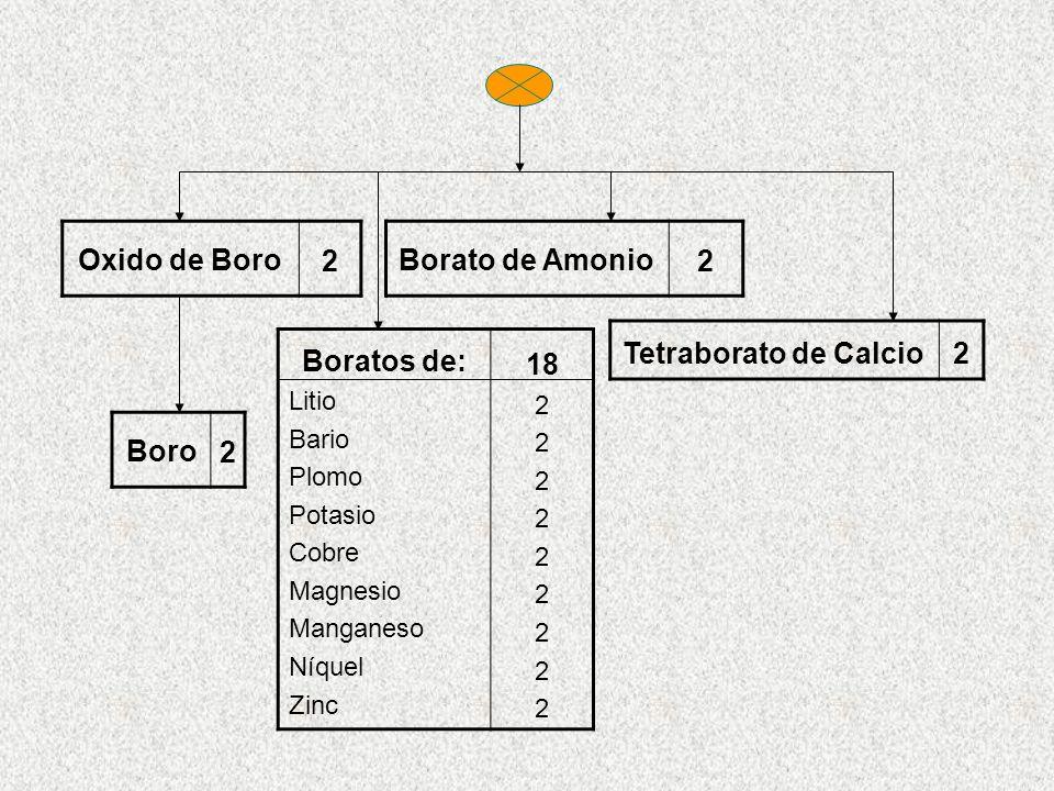 Oxido de Boro 2 Borato de Amonio 2 Tetraborato de Calcio2 Boro 2 Boratos de: Litio Bario Plomo Potasio Cobre Magnesio Manganeso Níquel Zinc 18 2