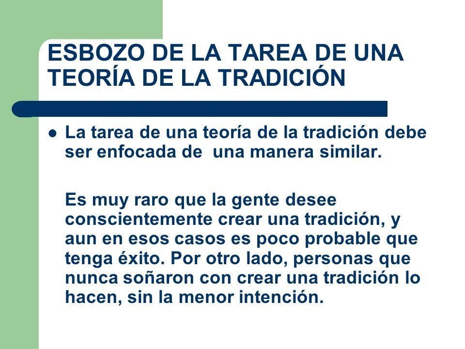 ESBOZO DE LA TAREA DE UNA TEORÍA DE LA TRADICIÓN La tarea de una teoría de la tradición debe ser enfocada de una manera similar. Es muy raro que la ge