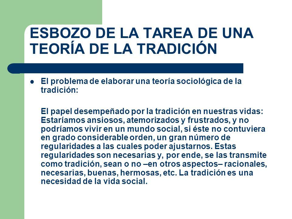 ESBOZO DE LA TAREA DE UNA TEORÍA DE LA TRADICIÓN El problema de elaborar una teoría sociológica de la tradición: El papel desempeñado por la tradición