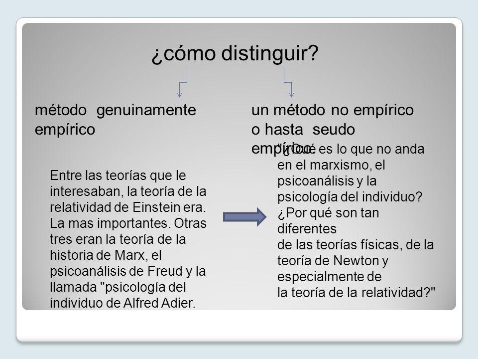 ¿cómo distinguir? método genuinamente empírico un método no empírico o hasta seudo empírico. Entre las teorías que le interesaban, la teoría de la rel