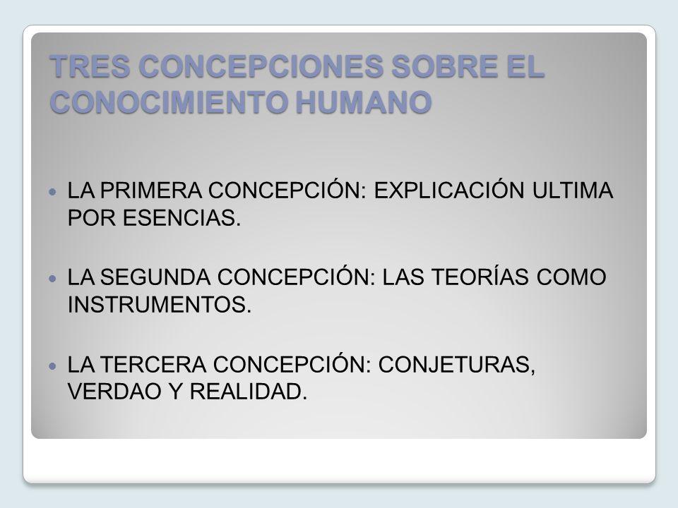 TRES CONCEPCIONES SOBRE EL CONOCIMIENTO HUMANO LA PRIMERA CONCEPCIÓN: EXPLICACIÓN ULTIMA POR ESENCIAS. LA SEGUNDA CONCEPCIÓN: LAS TEORÍAS COMO INSTRUM