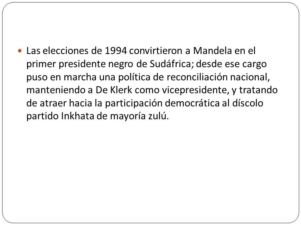 Las elecciones de 1994 convirtieron a Mandela en el primer presidente negro de Sudáfrica; desde ese cargo puso en marcha una política de reconciliació