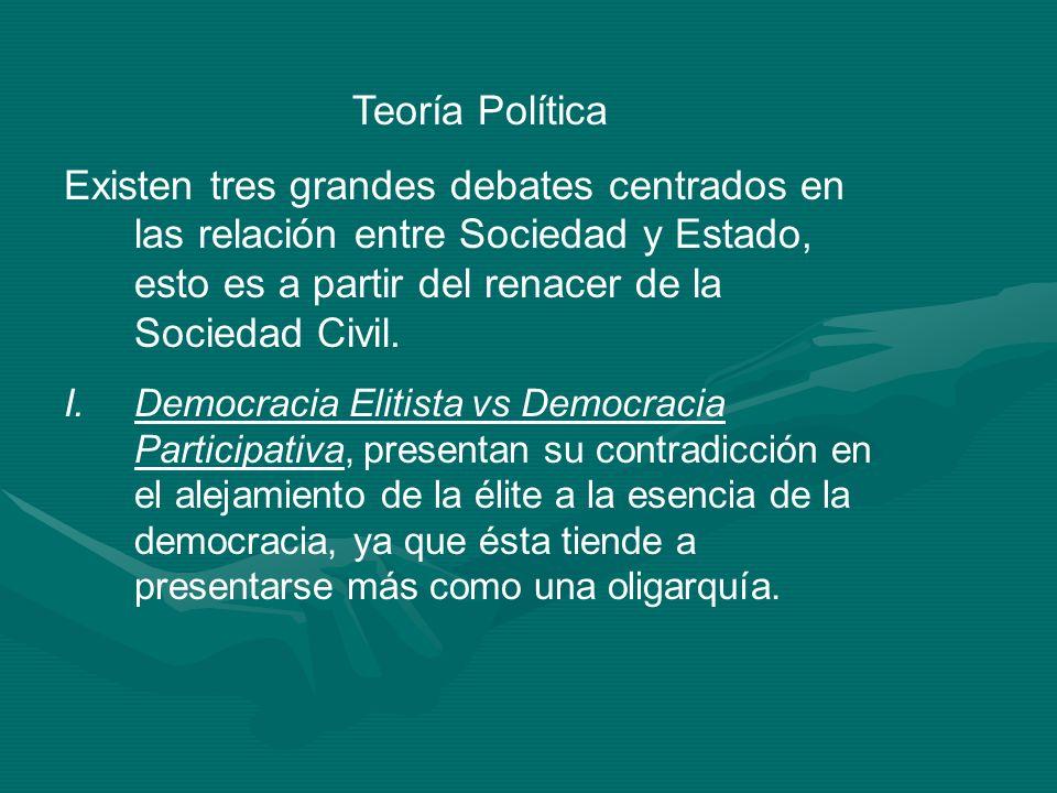 Teoría Política Existen tres grandes debates centrados en las relación entre Sociedad y Estado, esto es a partir del renacer de la Sociedad Civil. I.D
