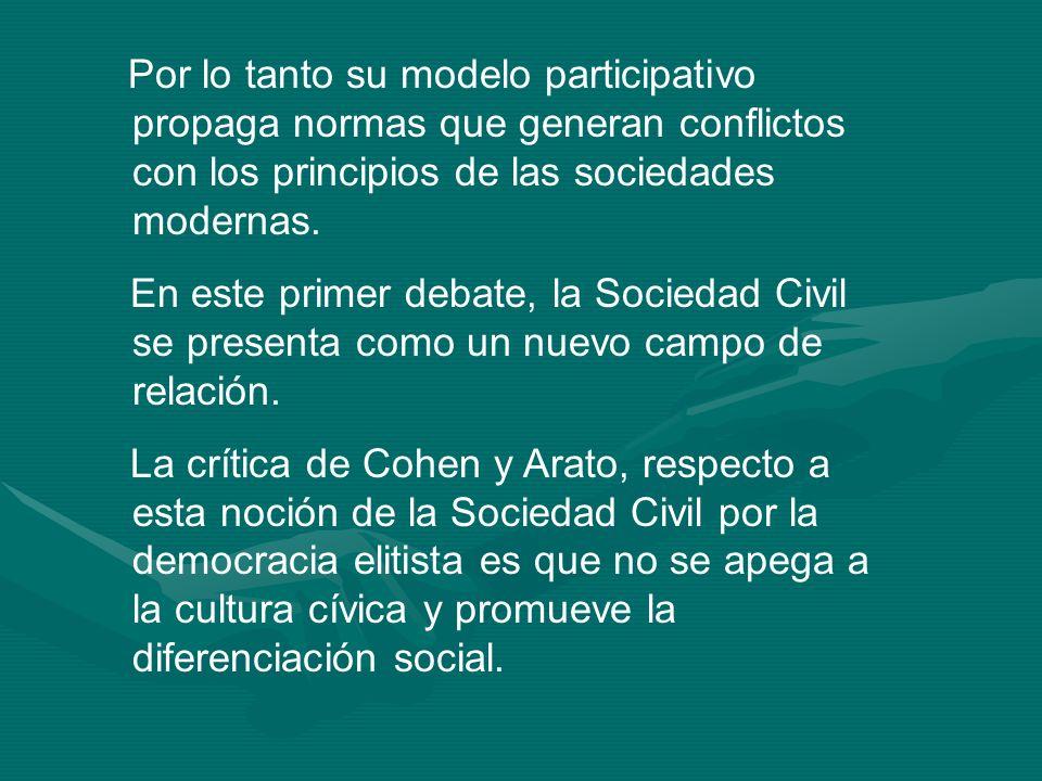 Por lo tanto su modelo participativo propaga normas que generan conflictos con los principios de las sociedades modernas. En este primer debate, la So
