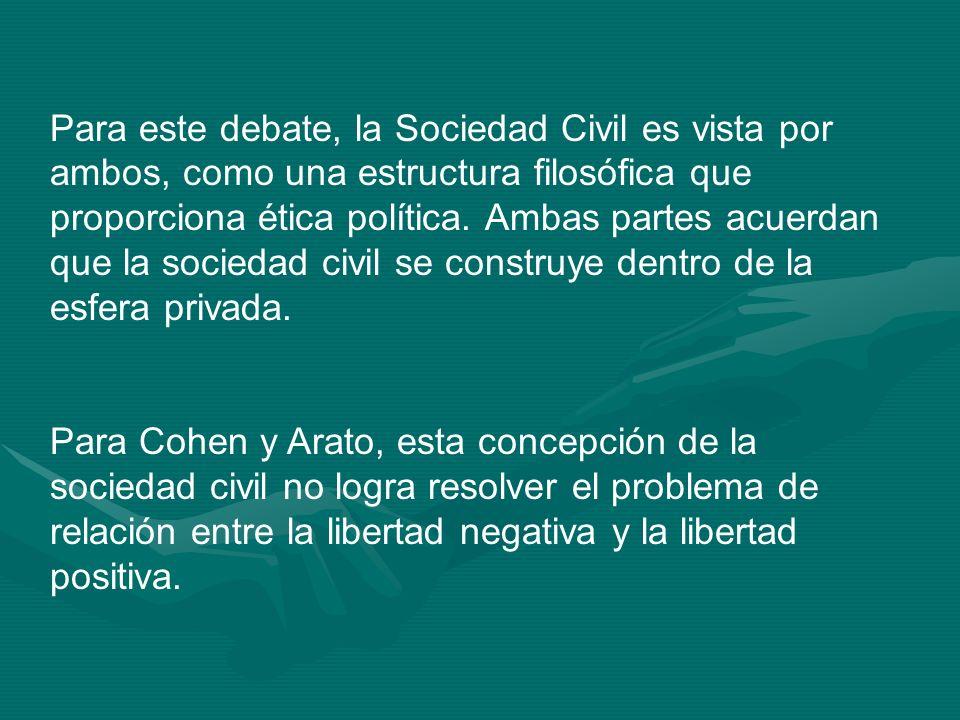 Para este debate, la Sociedad Civil es vista por ambos, como una estructura filosófica que proporciona ética política. Ambas partes acuerdan que la so