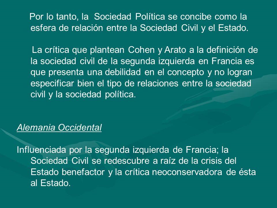 Por lo tanto, la Sociedad Política se concibe como la esfera de relación entre la Sociedad Civil y el Estado. La crítica que plantean Cohen y Arato a