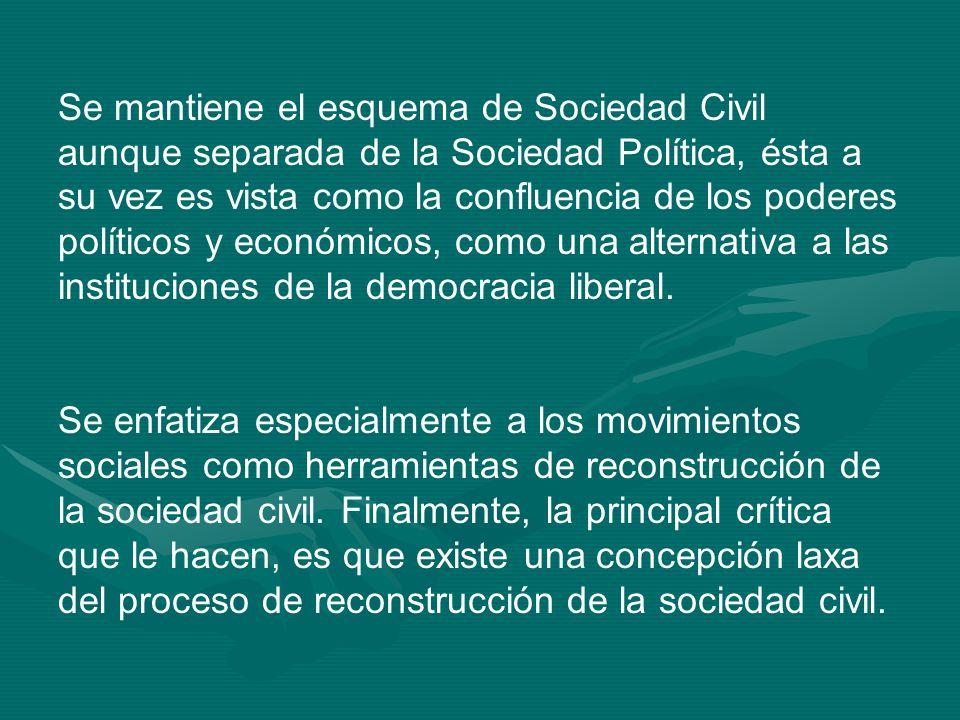 Se mantiene el esquema de Sociedad Civil aunque separada de la Sociedad Política, ésta a su vez es vista como la confluencia de los poderes políticos