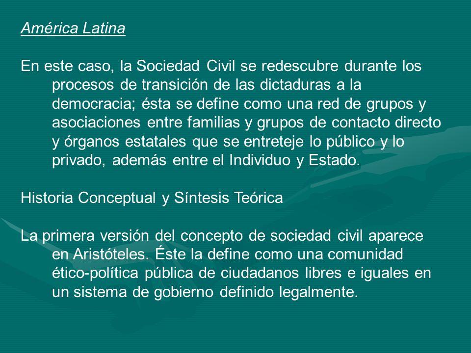 América Latina En este caso, la Sociedad Civil se redescubre durante los procesos de transición de las dictaduras a la democracia; ésta se define como