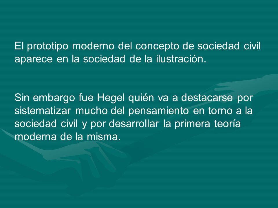 El prototipo moderno del concepto de sociedad civil aparece en la sociedad de la ilustración. Sin embargo fue Hegel quién va a destacarse por sistemat