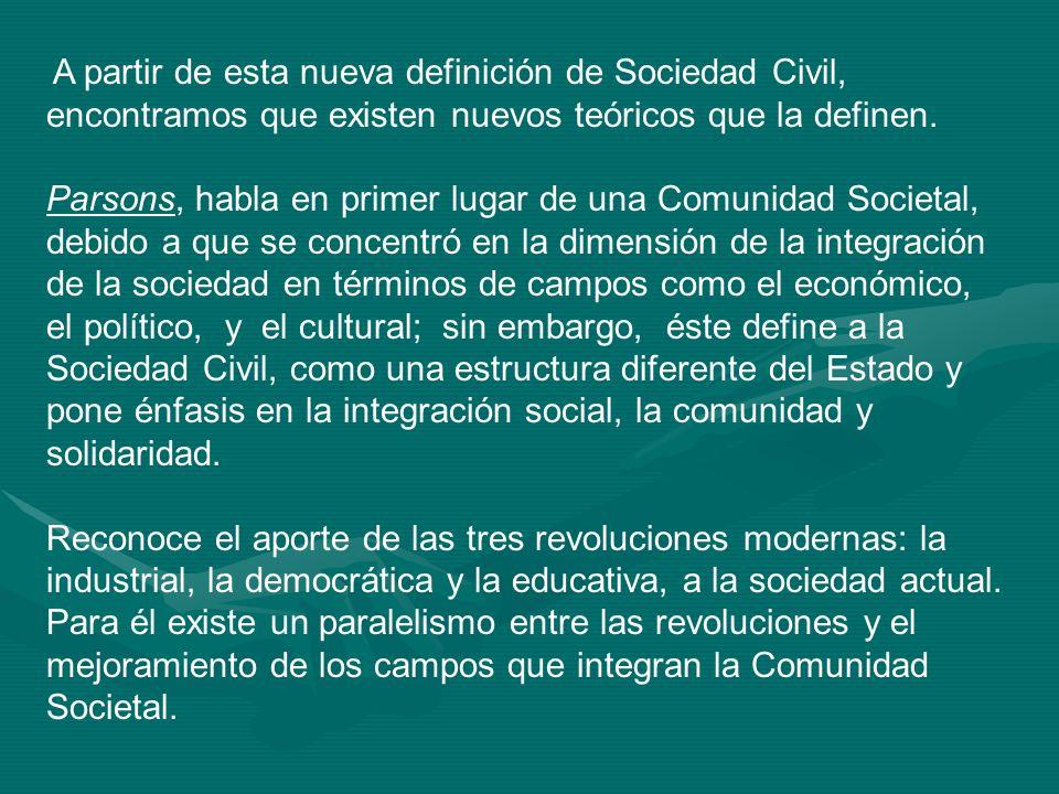 A partir de esta nueva definición de Sociedad Civil, encontramos que existen nuevos teóricos que la definen. Parsons, habla en primer lugar de una Com